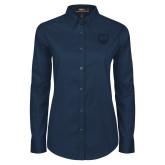 Ladies Navy Twill Button Down Long Sleeve-UNC Bear Logo