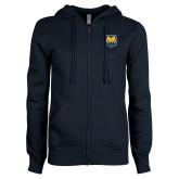 ENZA Ladies Navy Fleece Full Zip Hoodie-UNC Bear Logo