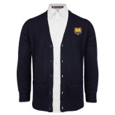 Navy V Neck Cardigan w/Pockets-UNC Bear Logo