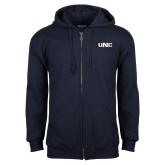 Navy Fleece Full Zip Hoodie-UNC
