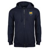 Navy Fleece Full Zip Hoodie-UNC Bear Logo