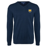 Classic Mens V Neck Navy Sweater-UNC Bear Logo
