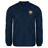 V Neck Navy Raglan Windshirt-UNC Bear Logo