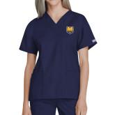 Ladies Navy Two Pocket V Neck Scrub Top-UNC Bear Logo