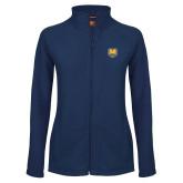 Ladies Fleece Full Zip Navy Jacket-UNC Bear Logo