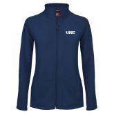 Ladies Fleece Full Zip Navy Jacket-UNC