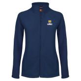 Ladies Fleece Full Zip Navy Jacket-UNC Bear Stacked
