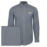 Mens Navy/White Striped Long Sleeve Shirt-UNC Bear Stacked