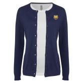 Ladies Navy Cardigan-UNC Bear Logo
