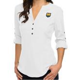 Ladies Glam White 3/4 Sleeve Blouse-UNC Bear Logo