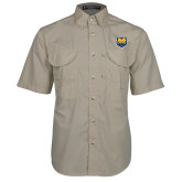 Khaki Short Sleeve Performance Fishing Shirt-UNC Bear Logo