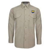 Khaki Long Sleeve Performance Fishing Shirt-UNC Bear Logo