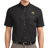 Black Twill Button Down Short Sleeve-UNC Bear Logo