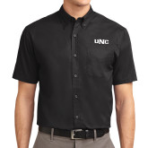 Black Twill Button Down Short Sleeve-UNC