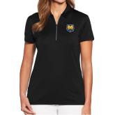Ladies Callaway Tulip Sleeve Black Zip Polo-UNC Bear Logo