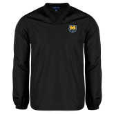 V Neck Black Raglan Windshirt-UNC Bear Logo
