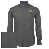 Mens Dark Charcoal Crosshatch Poplin Long Sleeve Shirt-UNC Bear Logo