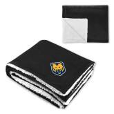 Super Soft Luxurious Black Sherpa Throw Blanket-UNC Bear Logo