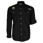 Columbia Bahama II Black Long Sleeve Shirt-UNC Bear Logo