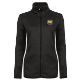 Black Heather Ladies Fleece Jacket-UNC Bear Logo
