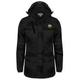 Ladies Black Brushstroke Print Insulated Jacket-UNC Bear Logo