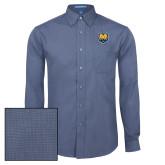Mens Deep Blue Crosshatch Poplin Long Sleeve Shirt-UNC Bear Logo