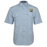 Light Blue Short Sleeve Performance Fishing Shirt-UNC Bear Logo