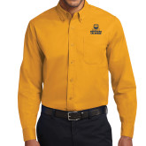 Gold Twill Button Down Long Sleeve-Northern Colorado Stacked Logo