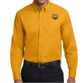 Gold Twill Button Down Long Sleeve-UNC Bear Logo