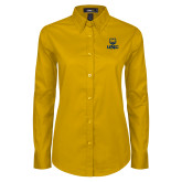 Ladies Gold Twill Button Down Long Sleeve-UNC Bear Stacked