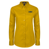 Ladies Gold Twill Button Down Long Sleeve-UNC