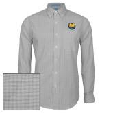 Mens Charcoal Plaid Pattern Long Sleeve Shirt-UNC Bear Logo