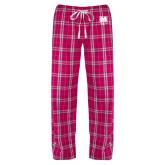 Ladies Dark Fuchsia/White Flannel Pajama Pant-UNC Bear Logo