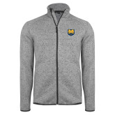 Grey Heather Fleece Jacket-UNC Bear Logo