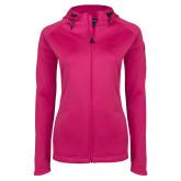 Ladies Tech Fleece Full Zip Hot Pink Hooded Jacket-UNC Bear Logo