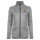 Grey Heather Ladies Fleece Jacket-UNC Bear Logo
