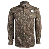 Camo Long Sleeve Performance Fishing Shirt-UNC Bear Logo