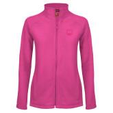Ladies Fleece Full Zip Raspberry Jacket-UNC Bear Logo