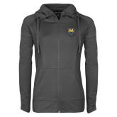 Ladies Sport Wick Stretch Full Zip Charcoal Jacket-UNC Bear Logo