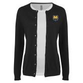 Ladies Black Cardigan-UNC Bear Logo