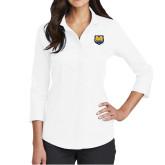 Ladies Red House White 3/4 Sleeve Shirt-UNC Bear Logo