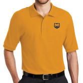 Gold Easycare Pique Polo-UNC Bear Logo