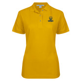Ladies Easycare Gold Pique Polo-UNC Bear Stacked
