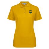 Ladies Easycare Gold Pique Polo-UNC Bear Logo