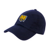 Navy Twill Unstructured Low Profile Hat-UNC Bear Logo