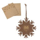Wood Snowflake Ornament-UNC Bear Logo Engraved