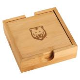 Bamboo Coaster Set-UNC Bear Logo Engraved