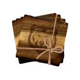 Acacia Wood Coaster Set-UNC Bear Logo Engraved