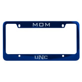 Mom Metal Blue License Plate Frame-UNC Engraved
