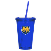 Madison Double Wall Blue Tumbler w/Straw 16oz-UNC Bear Logo